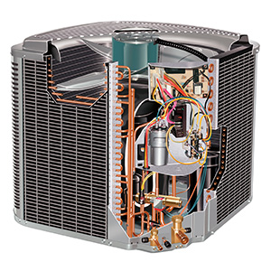 The condenser inside the AC unit